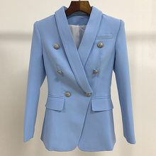 New Sky Blue Blazer Women 2020 Suit Classic Double Breasted
