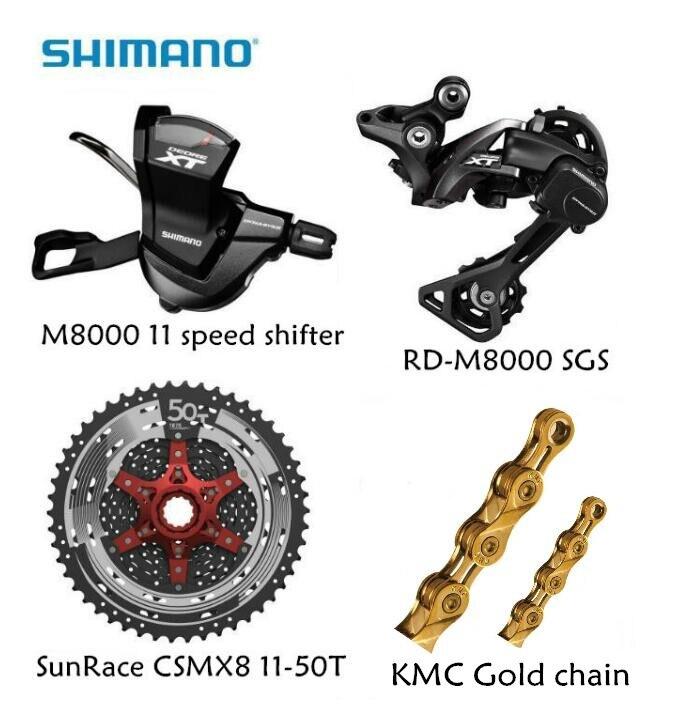 Shimano M8000 4 pz 1x11 groupset kit Spd M8000 Shifter deragliatore Posteriore Sunrace CSMX8 11-46 t 11-50 t Cassette K7 KMC catena D'oro