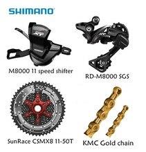 все цены на Shimano M8000 4pcs 1x11 groupset kit Spd M8000 Shifter Rear derailleur Sunrace CSMX8 11-46T 11-50T Cassette K7 KMC Gold chain