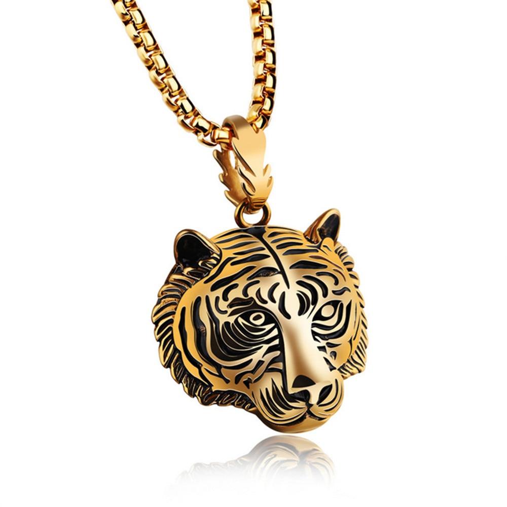 saatleri brand 2017 Stainless Steel 60CM Men Pendant Necklace Of Animal Tiger Exterior Men Necklace