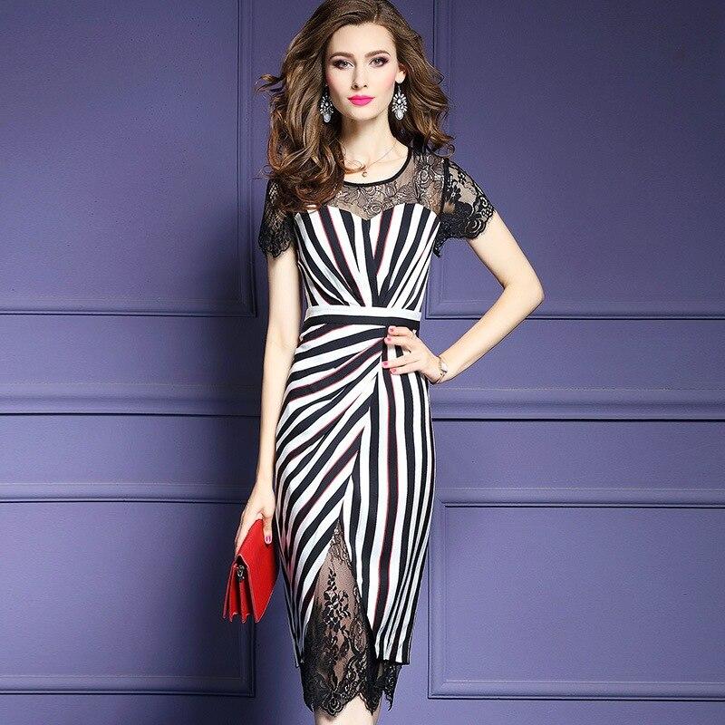 2018 Office Lady dress Fashion Spring Summer Clothes elegant short sleeve dresses XXXL Lace women Business