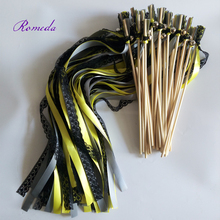 New Design black lace wedding wands with bell Wedding Ribbon Stick,ribbon Twirling Streamers