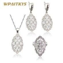 Wpaitkys белый ААА циркония серебро Цвет Ювелирные наборы для Для женщин подарок Цепочки и ожерелья подвеска Серьги Кольца Бесплатная подарочная коробка