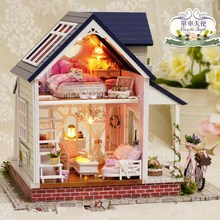Big size villa Diy Wooden Doll house Miniatura 3D Building Model Furniture Dollhouses Miniature Toys House Single angel A060