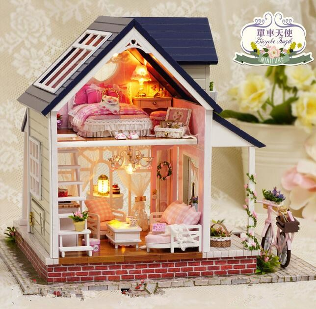 Big size villa Diy Wooden Doll house Miniatura 3D Building Model Furniture Dollhouses Miniature Toys House Single angel A060 d030 diy mini villa model large wooden doll house miniature furniture 3d wooden puzzle building model