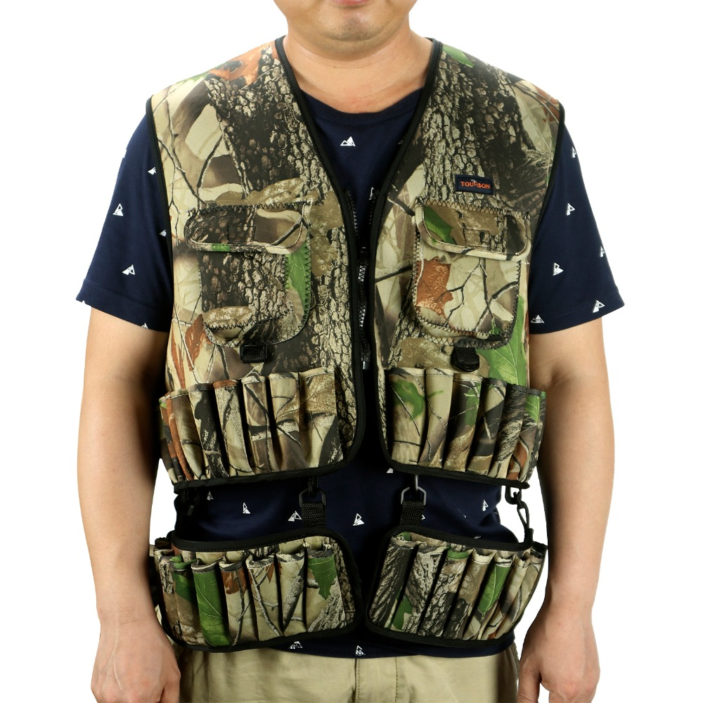 Tourbon Tactical Neoprene Camouflage Hunting Vest Shells Holder Lightweight Army Waistcoat with Multi Pocket