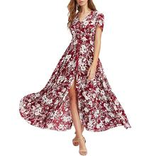 Women New Floral Printed Long Maxi Dress Summer Beach Plus Size Holiday Green Dresses