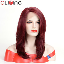 Alizing Ombre Brown Blond Long Natural Straight Wave Lace Front Wig L Part Lace Wig High Temperature Fiber Synthetic Hair Wig k0 blond brown