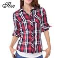 Nueva Casual Botón Mujer Plaids Camisas Cuello Vuelto Manga Larga Blusa Tamaño S-2XL Nueva Moda de Señora Cotton Comprueba Tops