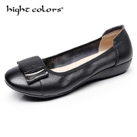 Women Ballet Flats Genuine Leather Loafers Round Toe Slip On Flat Handmade Metal Decoration Balerinas Shoes