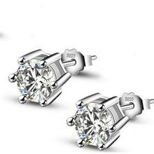 Hot Sale Women Earring Stud 0.75ct CZ Zircon Crystal Jewelry 925 Unique Silver Jewelry Stud Earrings with Round Clear Zircon