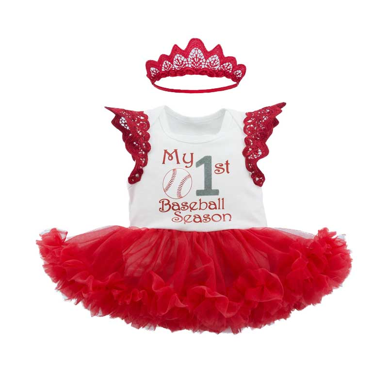 Newborn Baby Girls Tutu Romper+Headband 2Pcs Sets My 1st Baseball Season Outfits Infant Costume Princess Girl Clothes Sets baby kids baseball season clothes baby girls love baseball clothing girls summer boutique baseball outfits with accessories