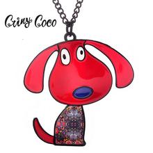 Cring Coco Red Dog Pendant Kid Jewelry 2019 New Design Animal Cartoons Enamel Alloy Chain Necklaces Women Pendants Necklace Hot