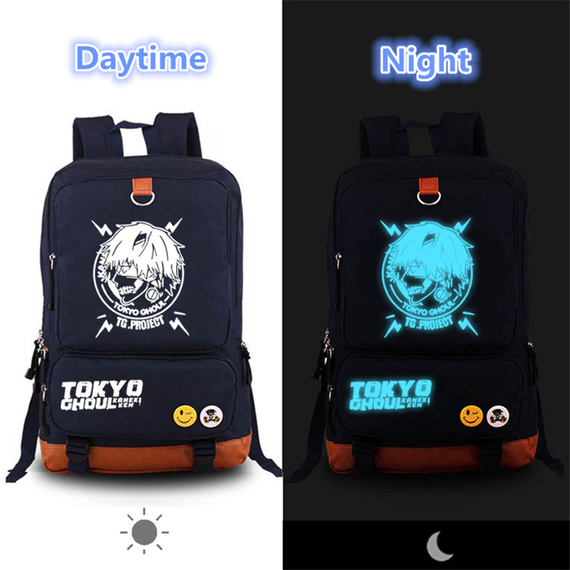 2017 New High Quality Anime Tokyo Ghoul kaneki ken Luminous Canvas Printing Laptop Backpack Mochila Feminina