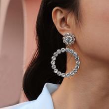 New Shiny Crystal Circle Big Dangle Earrings For Women luxury Rhinestone silver big earring Statement Earrings fashion jewelry