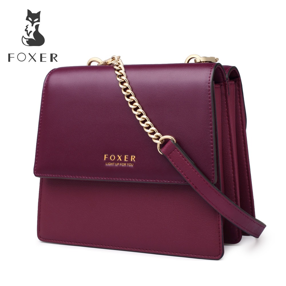 FOXER Brand Female Small Retro Flap Bag Women Double Sided Organ Bag Lady Chain Strap Mini