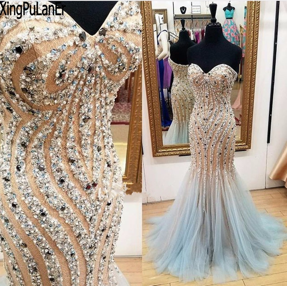 vestido de festa Mermaid Sleeveless Off The Shoulder Sexy Shiny Beaded Sequins Champagne Blue Long Evening Party Gown   Prom     Dress