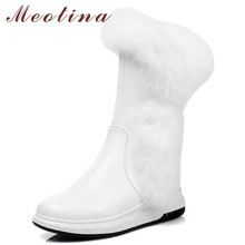 Meotina Winter Snow Boots Women Boots Real Fur Zipper Flat Platform Mid Calf Boots Warm Plush Round Toe Shoes Ladies Big Size 43 цена