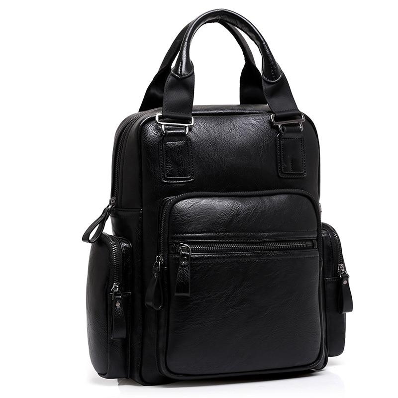 Fashion Men Black Backpack Leather Bag Men Travel Backpacks Laptop Brands High Quality Casual Male Shoulder Bag hot sales men s travel genuine leather durable black backpack fashion backpack laptop bag outdoor travel men s backpacks t6296