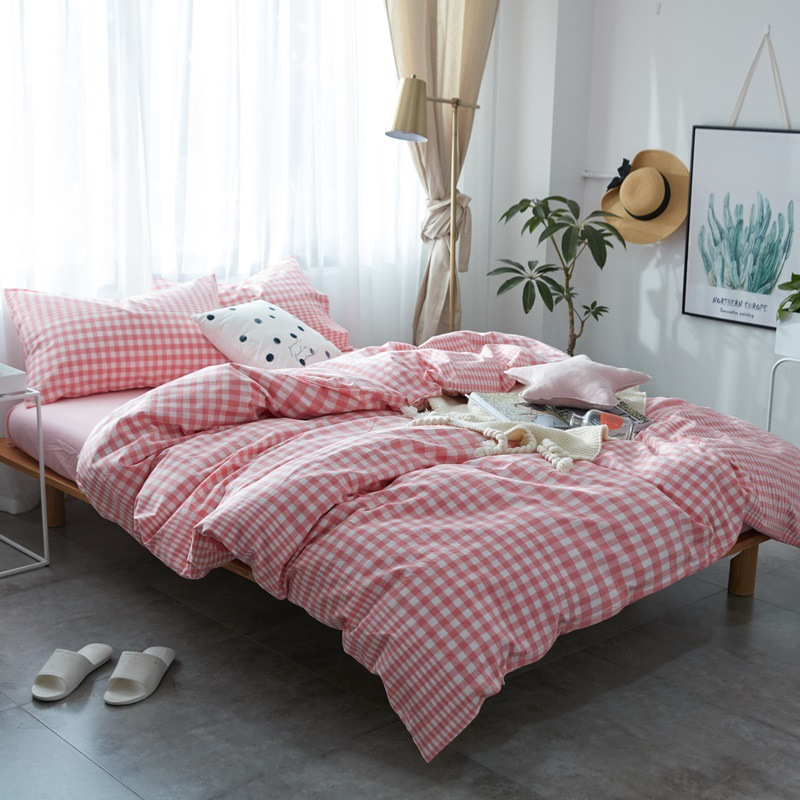 100% Cotton Quilt Cover Soft Printed Water Cotton Plaid Bedding Set With Pillow Case <font><b>Bed</b></font> Sheet Duvet Cover Set 4pc