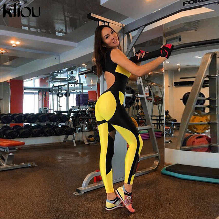 62381cbac86 Kliou women yellow patchwork sporting jumpsuits elastic skinny fitness  bodysuit female sexy backless hollow out mesh