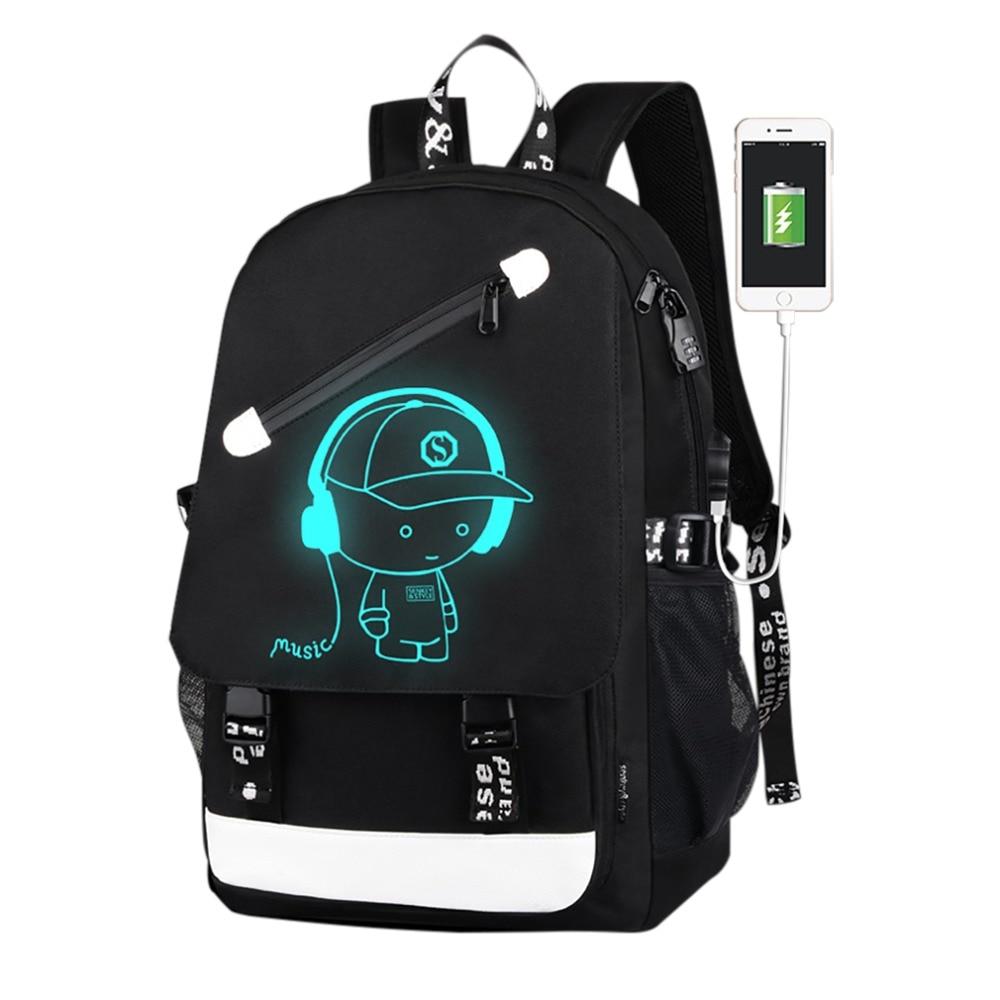 18inch USB Charge Music Boy Pattern Luminous Backpack Waterproof Nylon Satchel School Bag For Teenagers men nylon satchel backpack