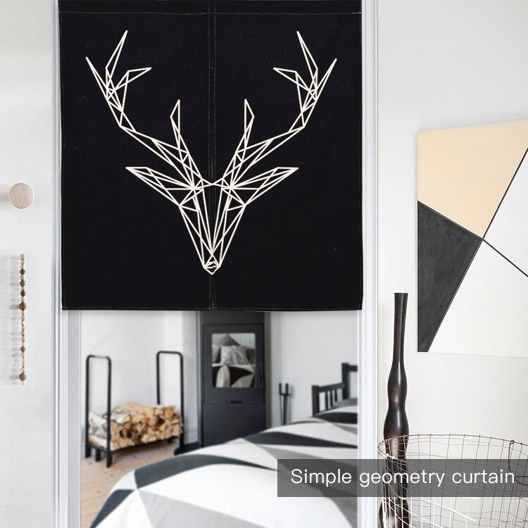 Nordic Black White Deer Zebra Short Kitchen Cafe Curtains Old Vintage Camera Quote Japanese Noren Modern Door Home Room Curtain