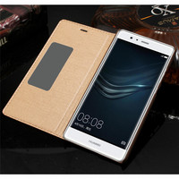 CYBORIS Cases For Huawei Ascend P9 5 2 Smart View Window Flip Cover Luxury Genuine Leather