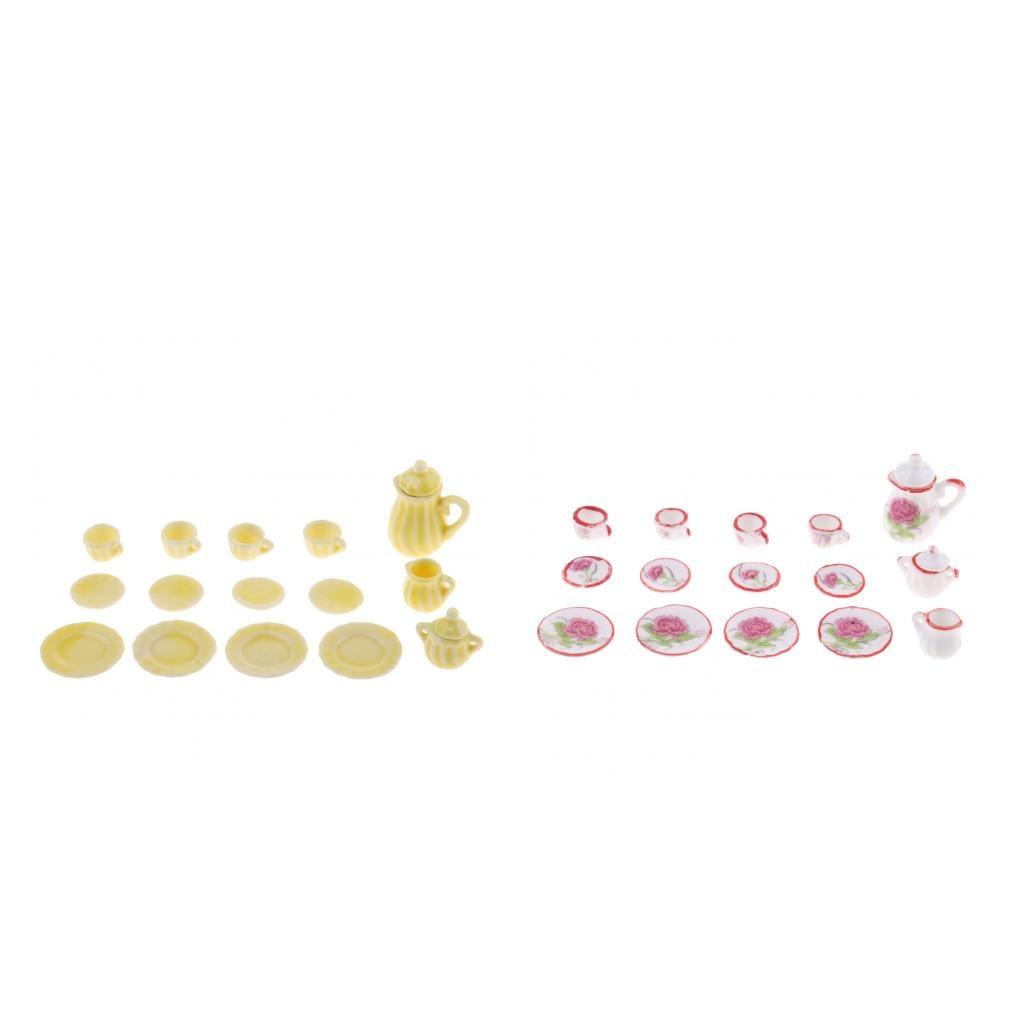 15peices Dollhouse Миниатюрные столовая посуда фарфор Чай комплект имбирь для кукольного дома Декор Кухонные игрушки Дети Рождество подарок на ден...