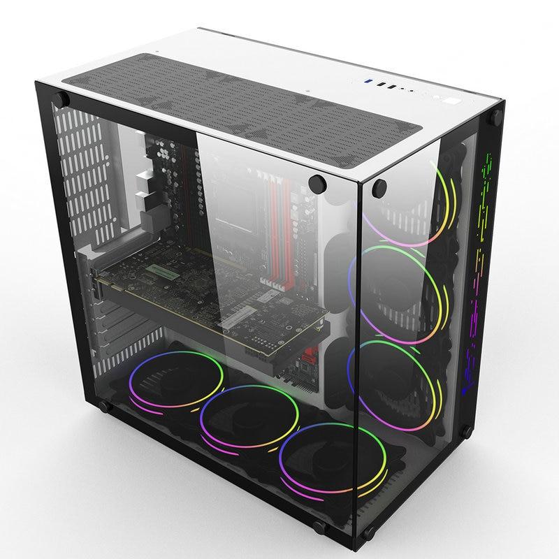 417 243 427mm gaming computer pc gamer fall volle seite transparent gehartetem glas wasser kuhlung chassis fur atx unterstutzung gtx 1080