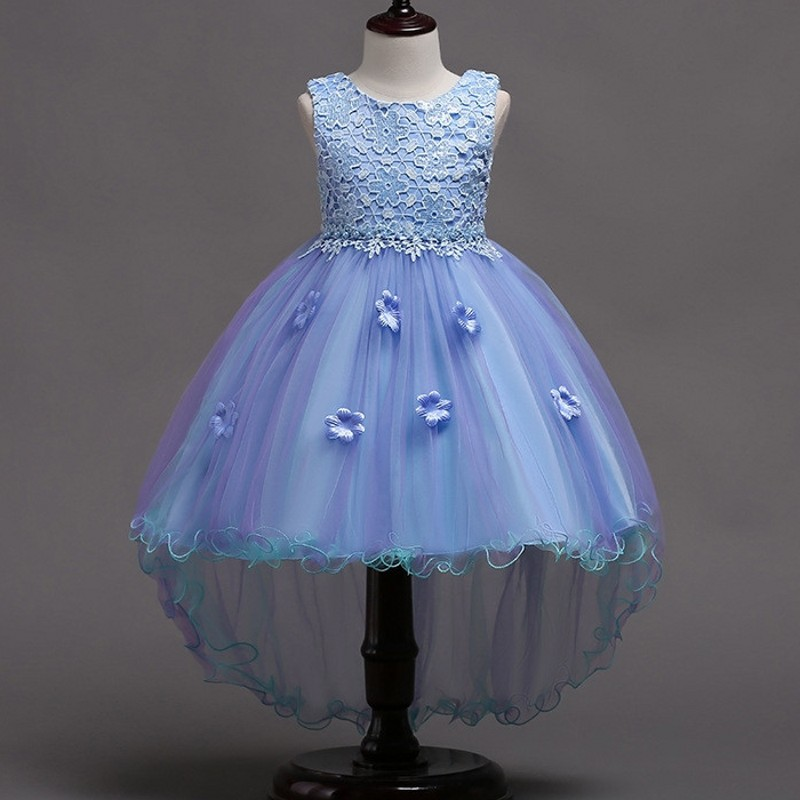 New summer Blue Children Dresses For Girls Kids Formal Wear Long Train Princess Dress For Baby Girl 8 Year Birthday Party Dress summer 2017 new girl dress baby princess dresses flower girls dresses for party and wedding kids children clothing 4 6 8 10 year