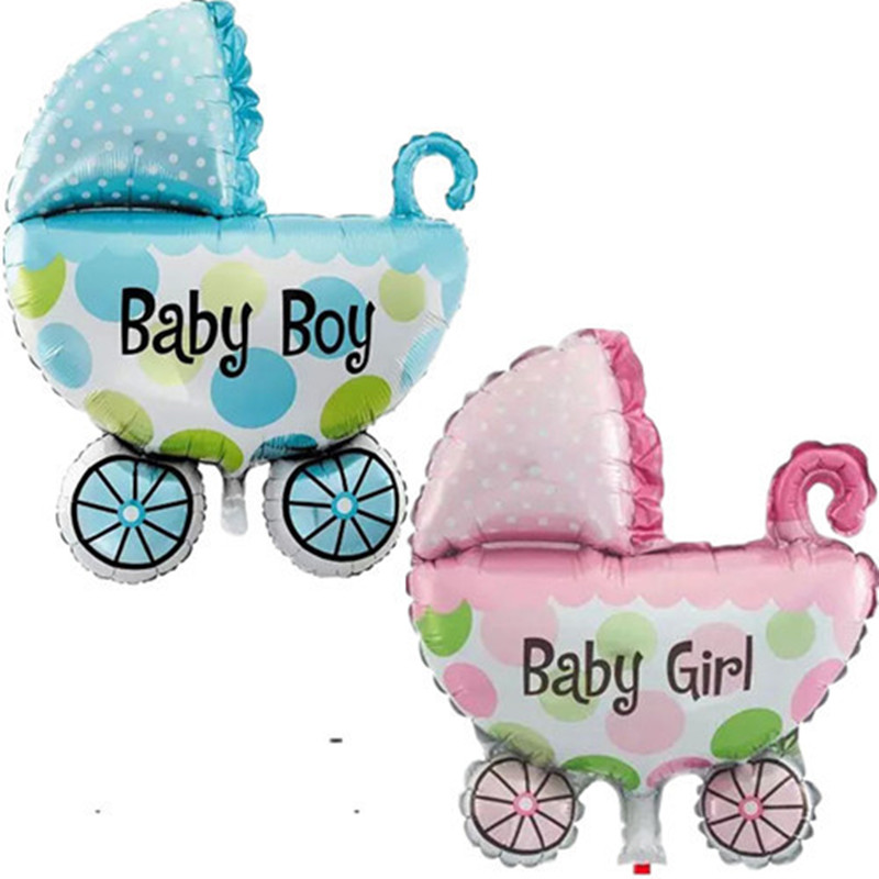 Baby Shower баллоны прекрасный большой Детские коляски Для мальчиков и девочек фольгированные шары Air надувной мяч день рождения украшения