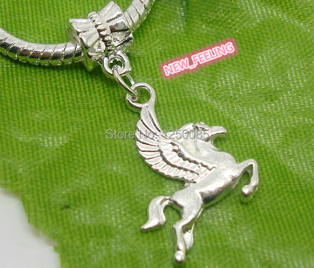 50pcs/lot Silver Plated Horse Design Charms Pendants Fit European Pdn Bracelets & Necklace Ped20-5 High Resilience Beads & Jewelry Making