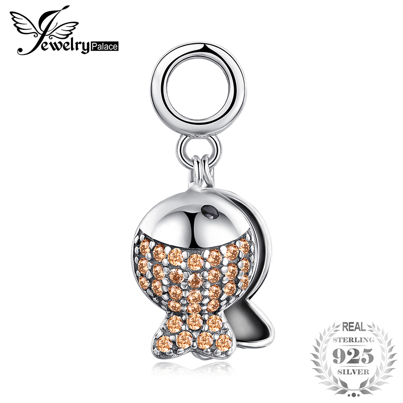 JewelryPalace Black And Taupe Cubic Zirconia Engraved Fish In The River Dangle Bead Charm Fit Bracelets Not Include A ChainJewelryPalace Black And Taupe Cubic Zirconia Engraved Fish In The River Dangle Bead Charm Fit Bracelets Not Include A Chain
