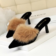купить women shoes high heels pumps basic mules fashion fur Women slippers thin heel pointed rabbit hair sandals Casual Pointed Toe по цене 1543.65 рублей