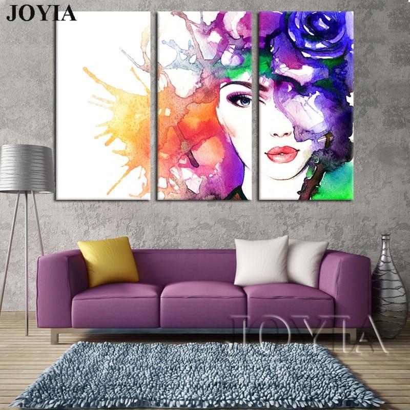 ᗛ3 unidades decoración pared arte belleza abstracta lienzo acuarela ...