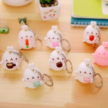 Cute Potato Rabbit Car Key Decor White Bunny Keychain Women Small Pendant Bag Ornaments