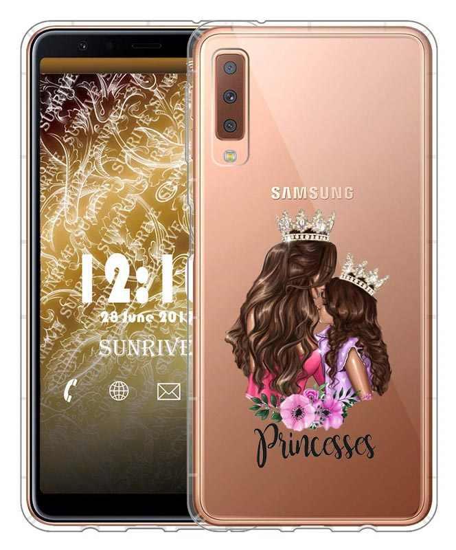De moda negro marrón pelo bebé mamá Reina Niña 01 mujer cajas del teléfono para Samsung S8 S9 más A6 A6Plus A8 a8Plus 2018 A7 2018 A750