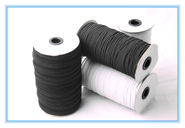 5mm width 260meters White Elastic Roll Braided Elastic Cord Elastic Tape For Sewing