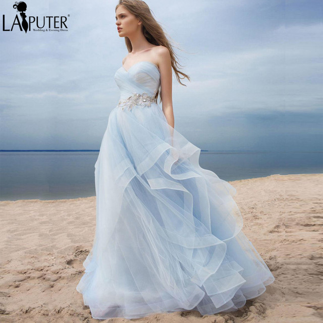 Colorful Wedding Dresses 2017 Sweetheart Sky Blue Empire Ruched Bodice A Line Dress Custom