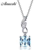 AINUOSHI 2 Carat Cushion Cut Natural Sky Blue Topaz Pendant 925 Silver Pendant Necklace Party Jewelry 925 Silver Engagement Gift
