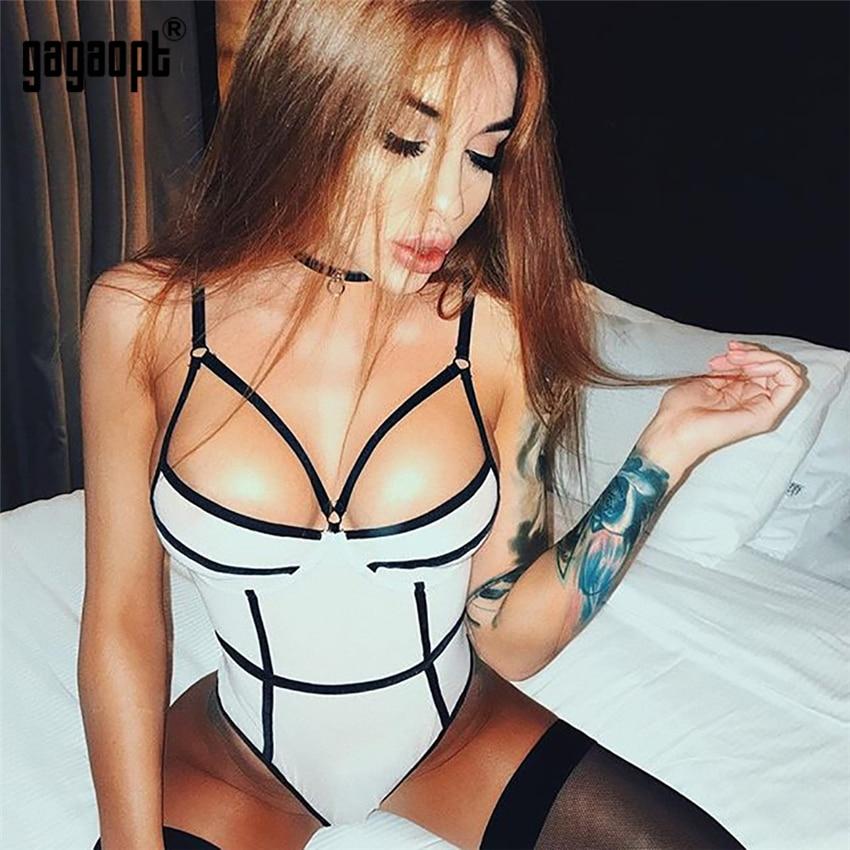 Gagaopt 2019 Sexy Bodysuit Women Fashion Bodycon Skinny Bodysuit Ladies White/Black Bodysuit Club Jumpsuit Overalls Streetwear