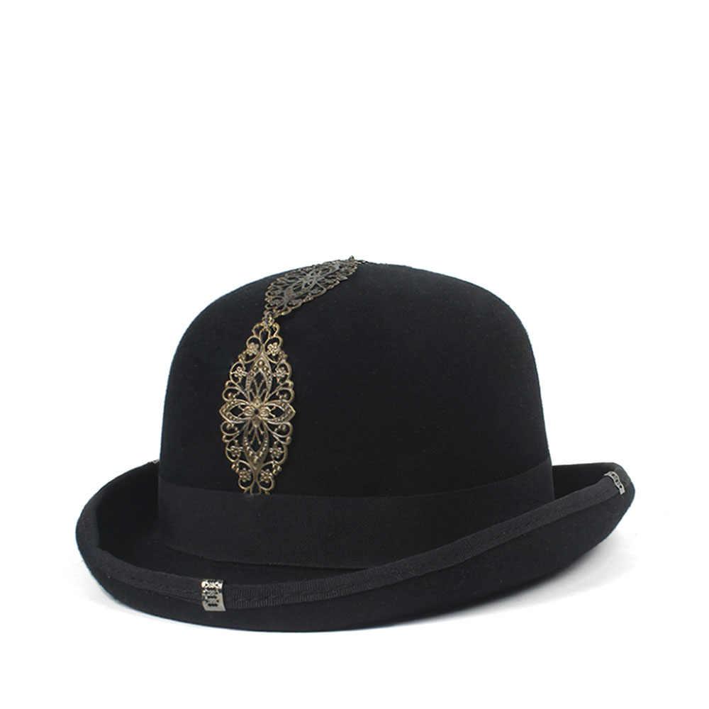 0206efb88d 100% Wool Black Women Men Steampunk Bowler Hat CrushableTraditional Fedora  Billycock Groom Hats 4Size S M L XL