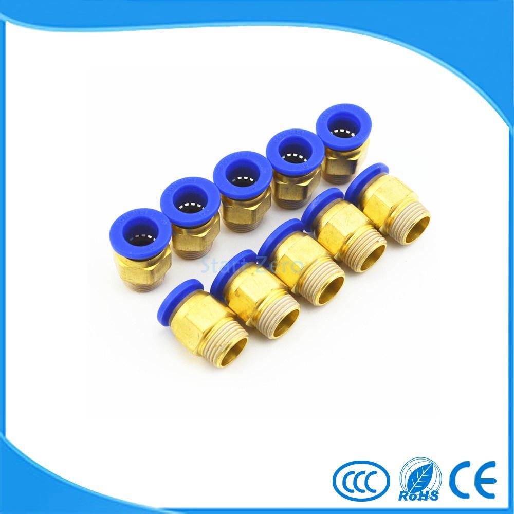 12mm Tube X 3/8 Thread Quick Connector Pneumatic Air Fittings 10Pcs PC12-03 4mm tube x m5 thread quick connector pneumatic air fittings 10pcs pc4 m5