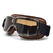 NEW Harley Style Motorcycle Glasses Pilot Motorbike Goggles Leather Retro Jet Helmet Eyewear