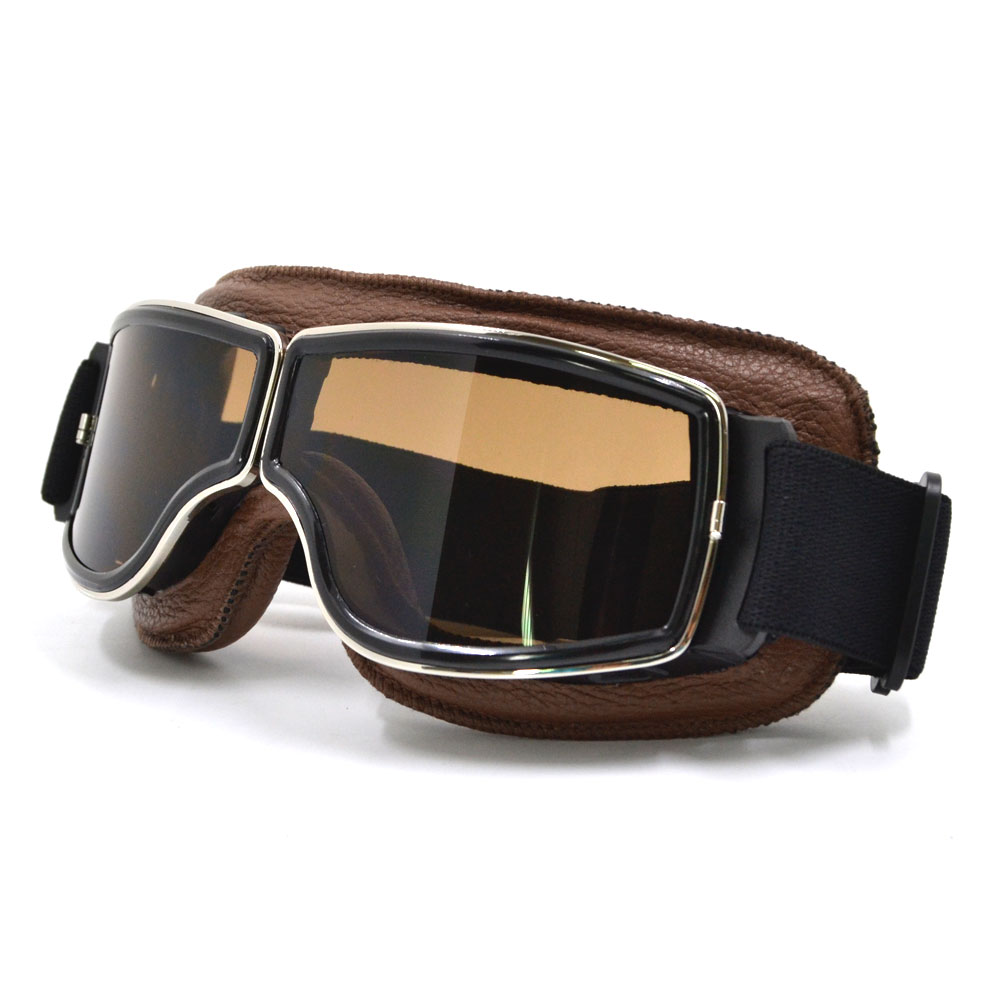 NEW Harley Style Motorcycle Glasses Pilot Motorbike Goggles Leather Retro Jet Helmet Eyewear