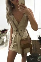 2019 Fashion Women Button Casual Dress Solid Belt Tie Sexy Dress Party Sleeveless Mini Dress