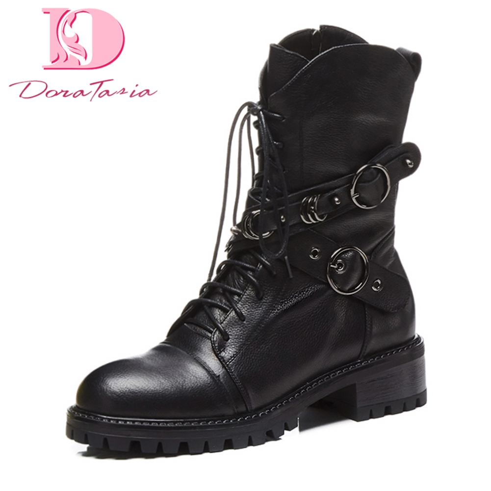 DoraTasia 2018 genuine leather zip up autumn winter boots woman shoes buckle fashion mid calf boots