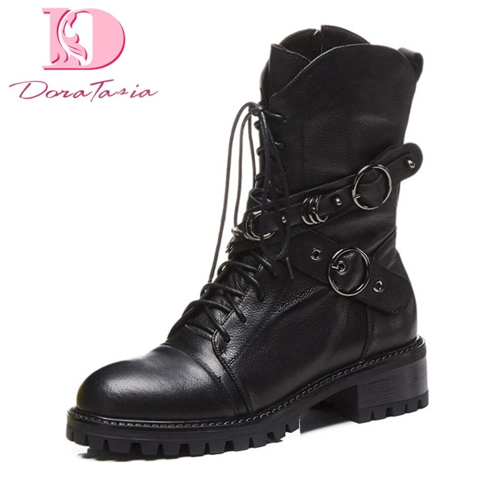 DoraTasia 2018 véritable en cuir zip up automne hiver martin bottes femme chaussures boucle de mode mi-mollet bottes chaussures femmes