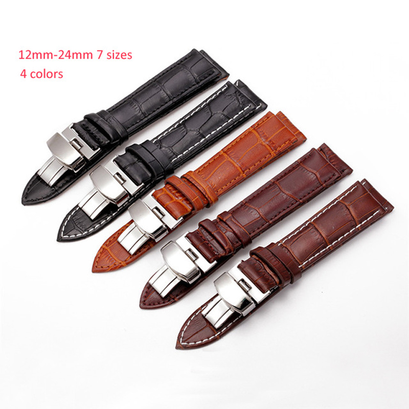 12 14 16 18 20 22 24mm Leather Watch Band Strap men &  women Butterfly Pattern Metal Clasp Buckle+ Leather Brown black Watchband 2016 top women lady genuine leather women s watchband popular white silver pin clasp 12 14 16 18 19 20 22 24mm watch band strap